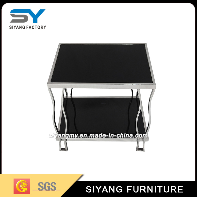 China Fancy Rose Gold Stainless Steel Glass Side Table   China Coffee Table,  Living Room Table
