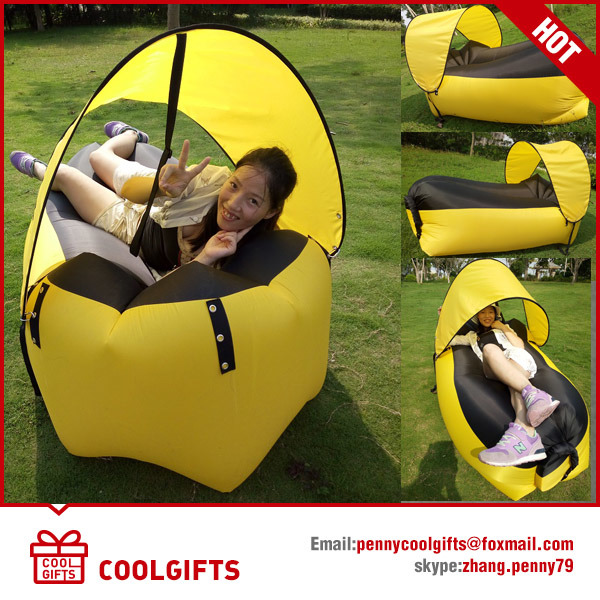 2016 Newest Inflatable Lazy Sofa Air Sleeping Bed with Sunshade