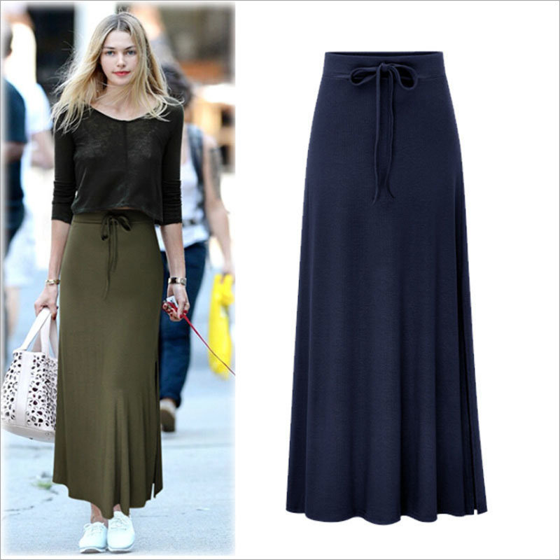 Split Elastic Waist Long Knitted Straight Skirt for Women Clothing pictures & photos
