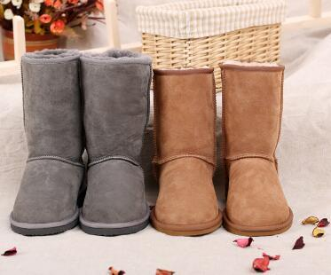 Classic MID Calf Winter Shoes Sheepskin Boots for Men and Women