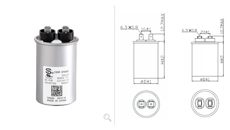 China C65r Single Round Capacitor - China Capacitor, Motor Capacitor