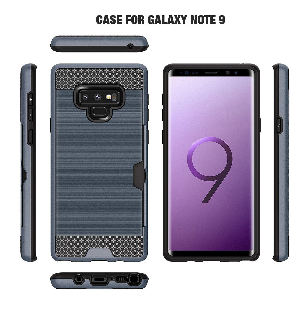 buy popular 45af8 9b16a [Hot Item] Wholesale Brushed Durable Armor Case for Samsung Galaxy Note 9  Case Card Slot Wallet