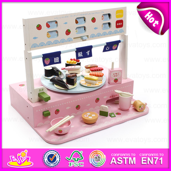 2017 Cute Mini Multi Coloured Wooden Sushi Toy For Kids Children Kitchen Set Cutting Food Cooking W10a036