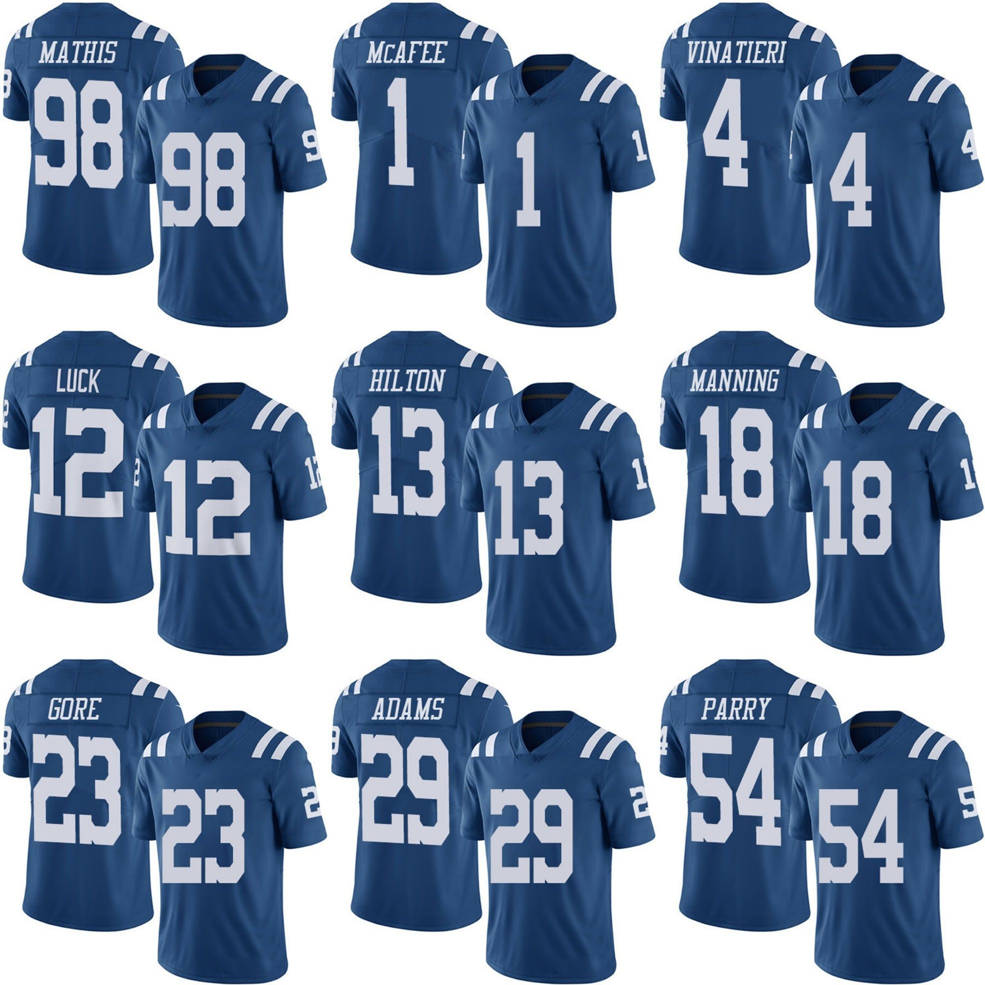 promo code 18a2f 83601 [Hot Item] Blue Colts Pat Mcafee Adam Vinatieri Andrew Luck Customized  Football Jerseys