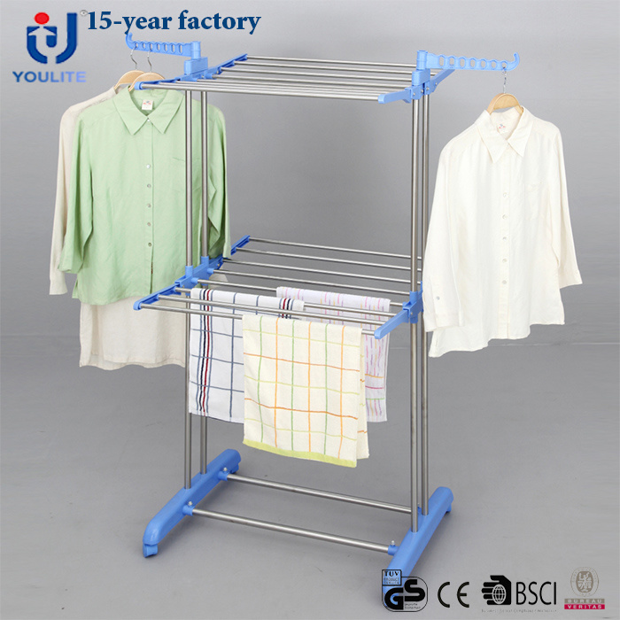 China Stainless Steel Two Layer Clothes Drying Rack China Clothes