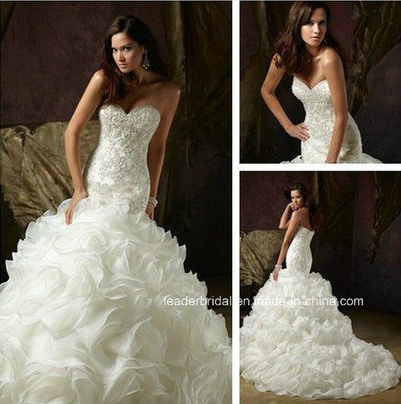 China Mermaid Organza Bridal Ball Gown Crystal Puffy Wedding Dresses ...