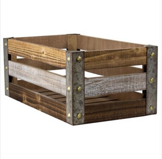Hot Item Bike Accessories Holder Metal Edge Plyometric Weathered Wood Slat Crate