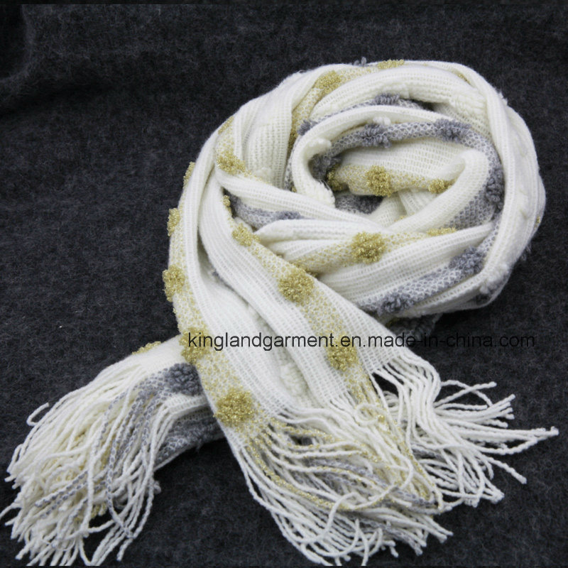 100% Acrylic Winter Warm Space-Dyed Fringed Knitted Colorful Scarf