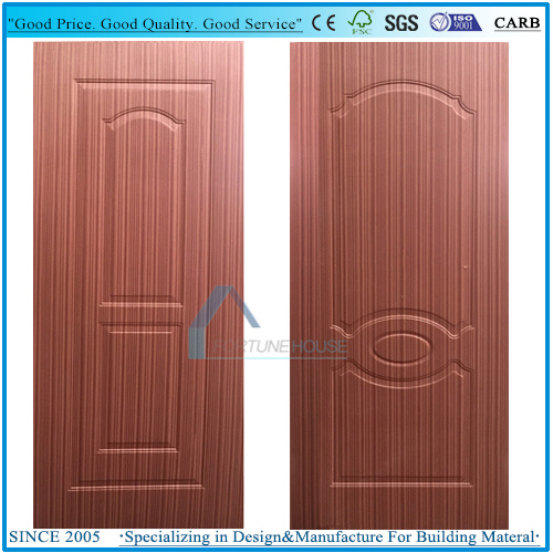 China Thickness 27mm 3mm Moulded Plywood Door Skin With Poplar Core