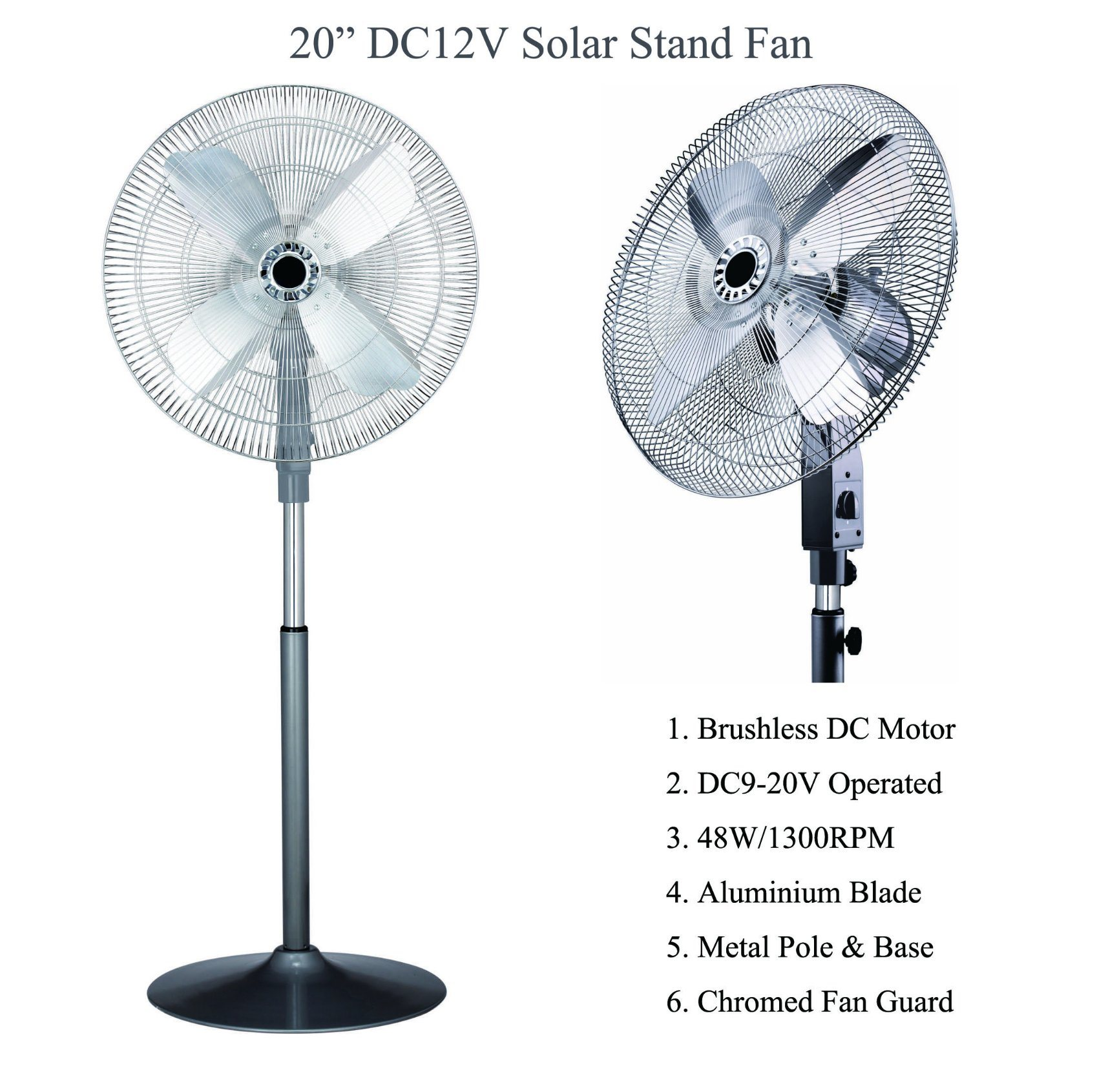 Solar Battery DC12V Operated Stand Fan Africa Fan