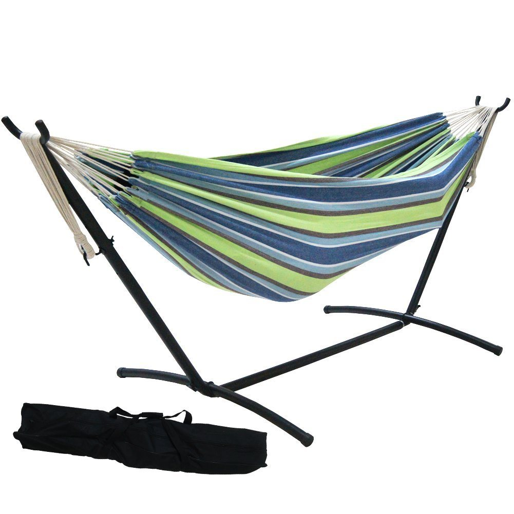 your black spruce lawn adorable perfect hammock swing grass with and up padded orange cream the cotton stand on placed green to furniture is bed design plus cushion rope backyard ideas lanscaping frame set metal