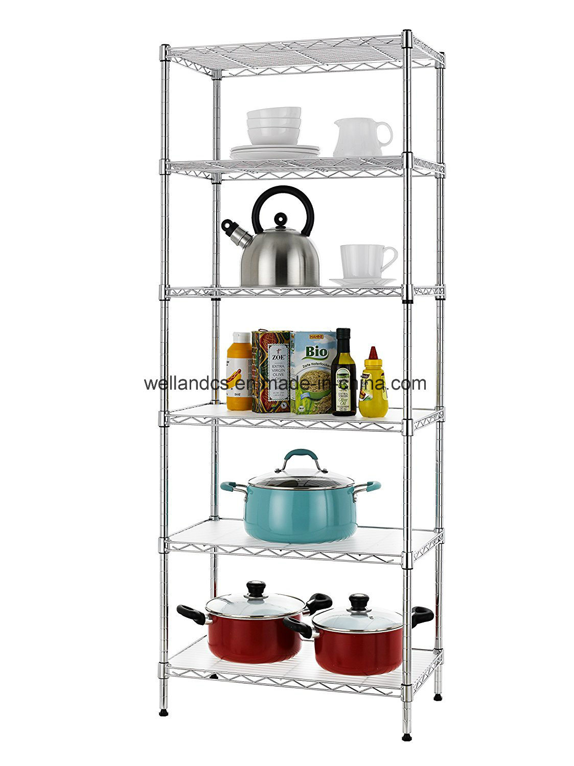 Hot Item Indoor 6 Tier Light Duty Adjustable Kitchen Pantry Wire Steel Storage Rack Shelving Unit Organizer