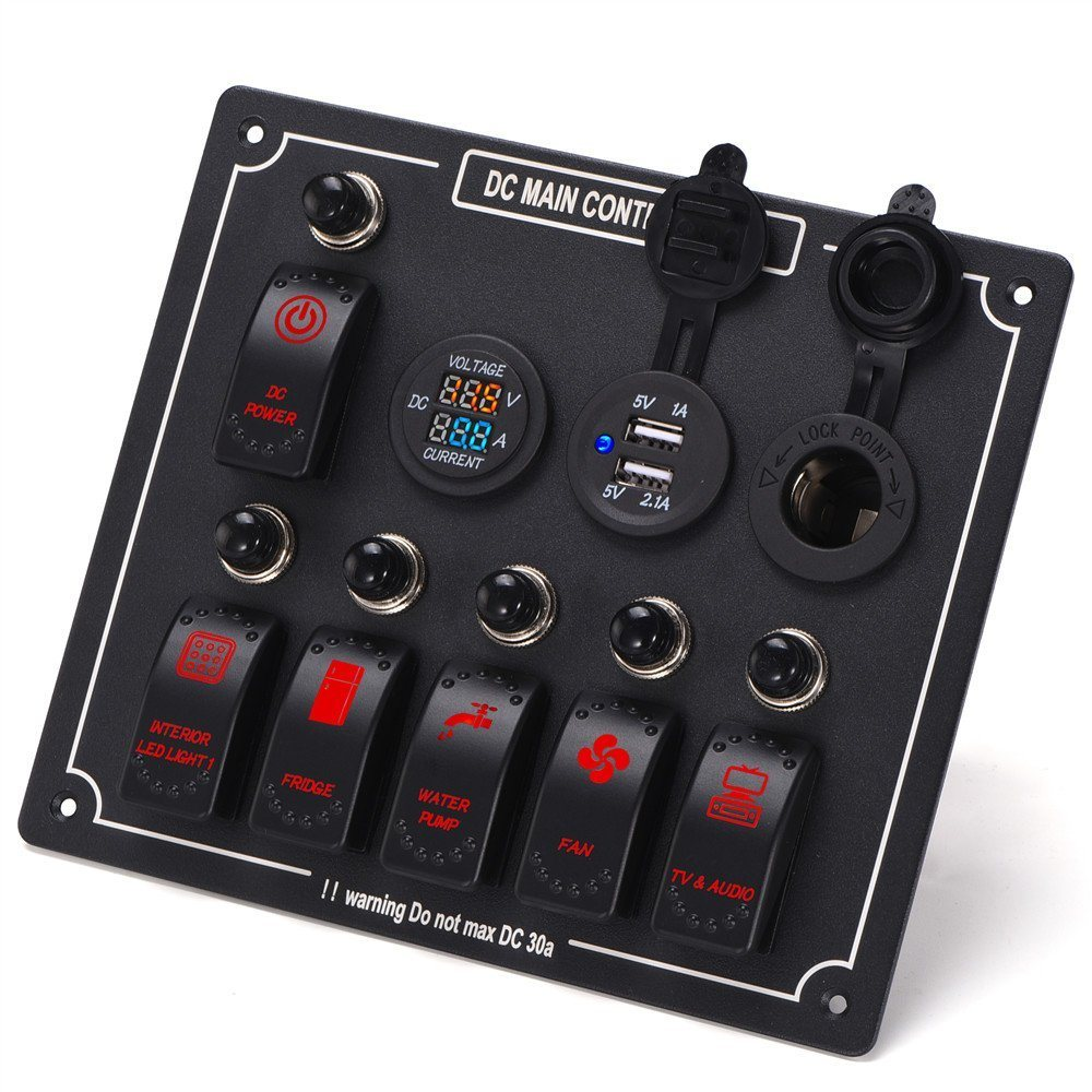 China 6 Gang 10 Waterproof Car Auto Boat Marine Led Ac Dc Wiring Audio Circuit Breaker Rocker Switch Panel Digital Voltmeter With 12v Cigarette Socket Overload