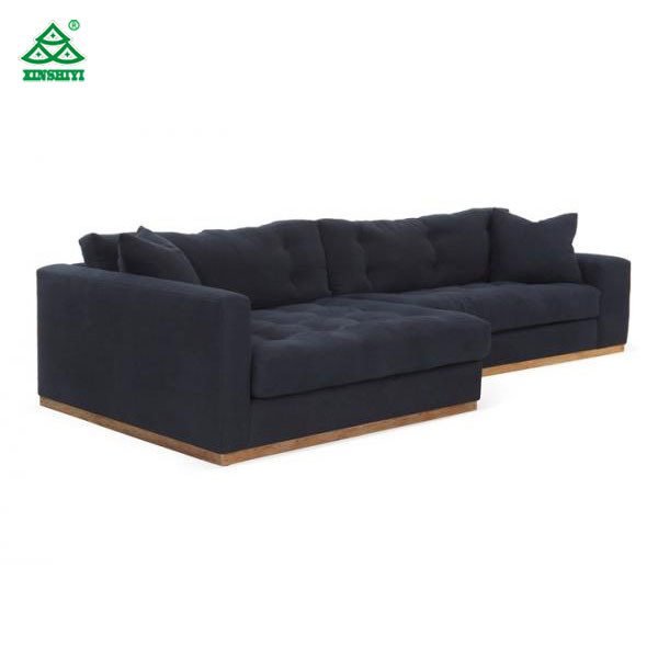 Black L Shaped Wooden Sofa Designs Long Fabric Sectional Sofas