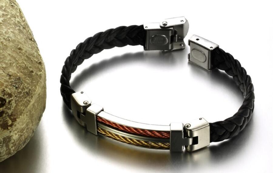 China Men Fashion Wire Cable Knitting Genuine Leather Bracelets ...