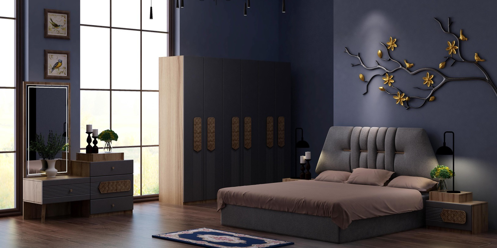 China Modern New Design Bedroom Sets Wardrobe Night Stand