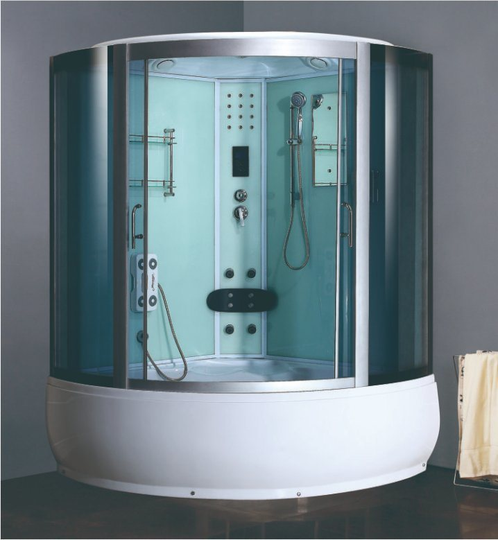 China Big Size Jacuzzi Bathtub Blue Tempered Glass Steam Shower ...