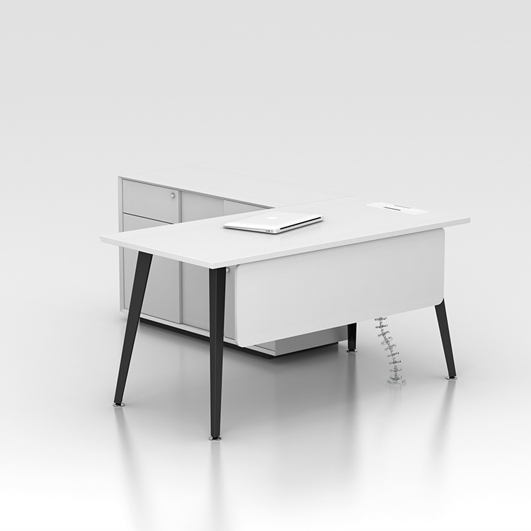 China White Color L Shaped Luxury, White Modern Office Desk