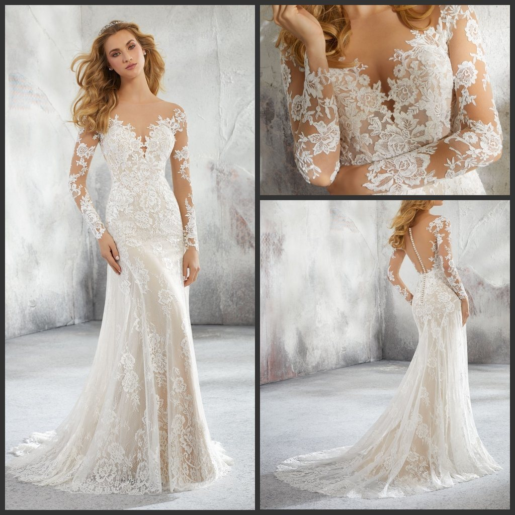 [Hot Item] Mermaid Bridal Gowns Long Sleeves Lace Wedding Dresses 2019 M8276