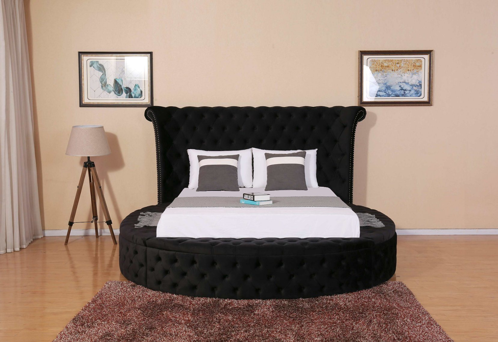 China Modern Bed Flat Bed Wooden Bed Big Round Buttons Bed Furniture China Double Bed Bedroom Bed