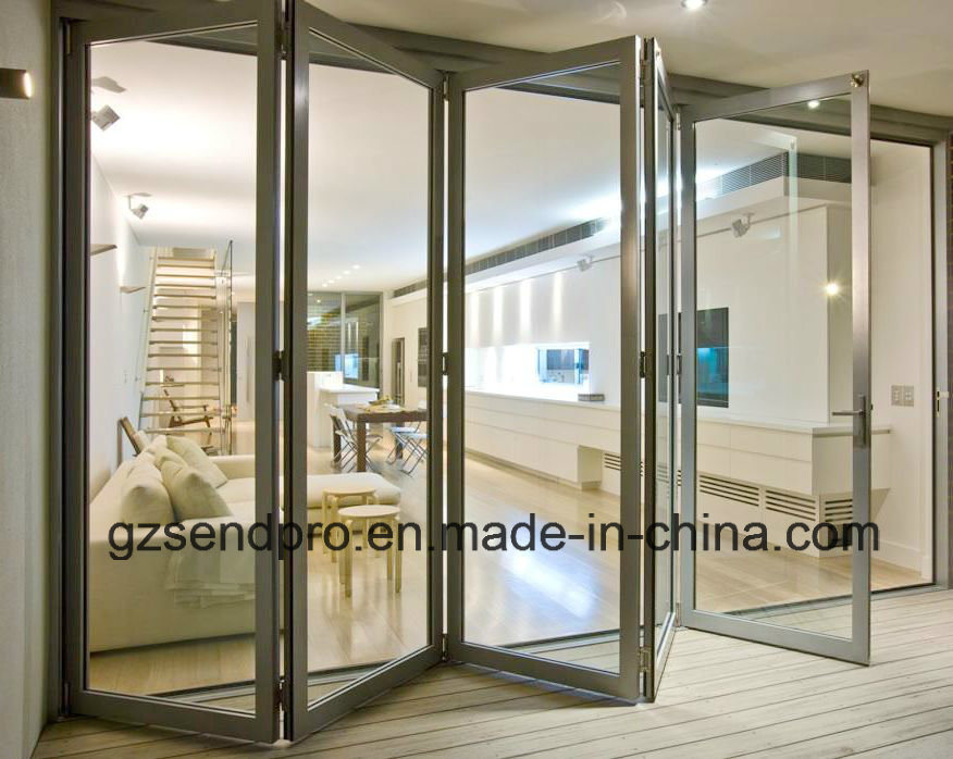 China New Design Double Glass Aluminum Folding Accordion Door