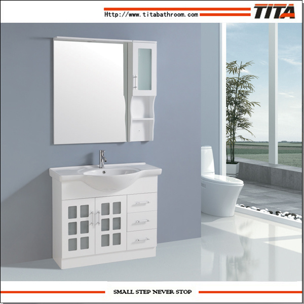 China High Gloss White Mdf Bathroom Furniture Frosted Gl Door Cabinet Vanity Units Tm8015