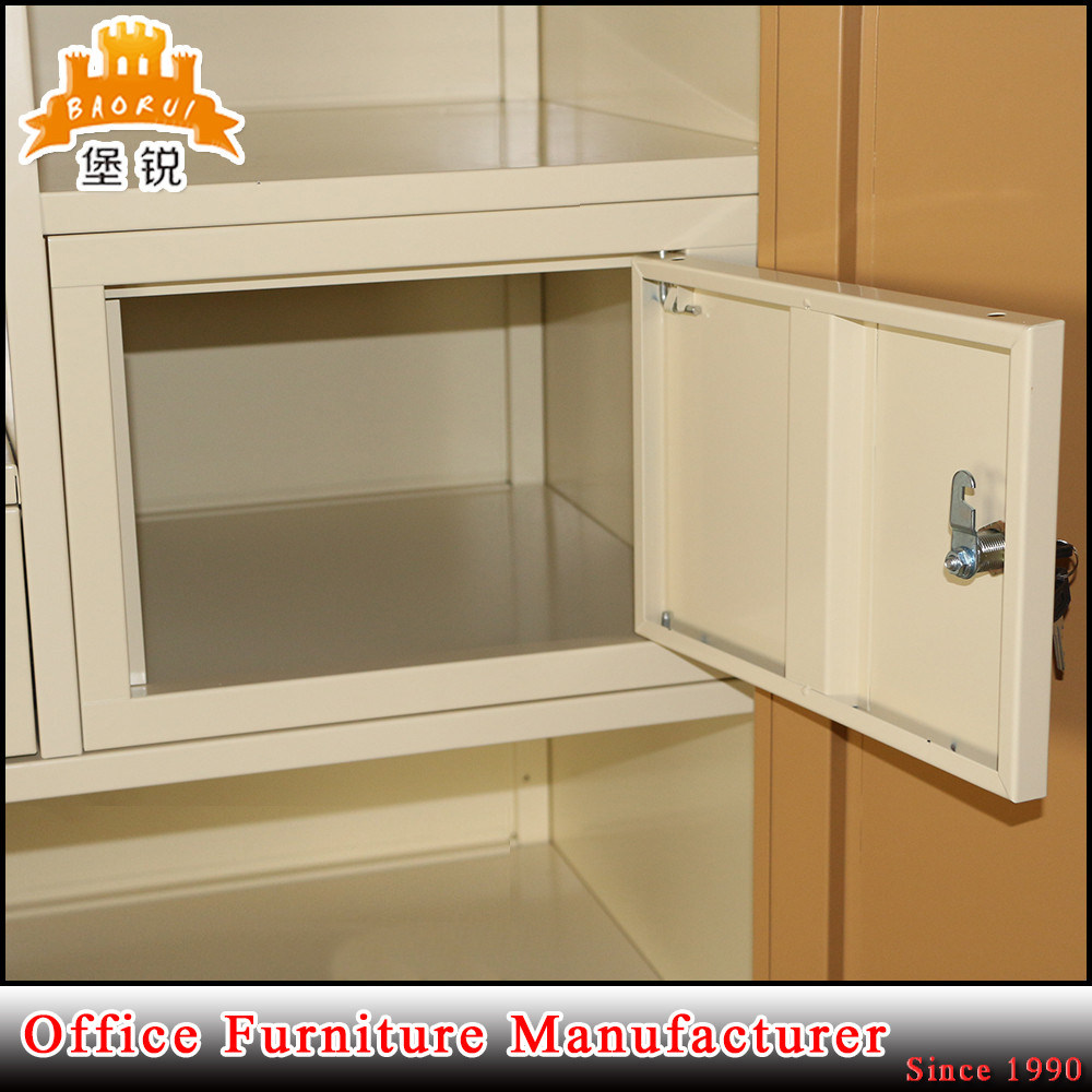 Metal Double Door Bedroom Iron Inside Drawer Steel Clothing Closet Wardrobe pictures & photos