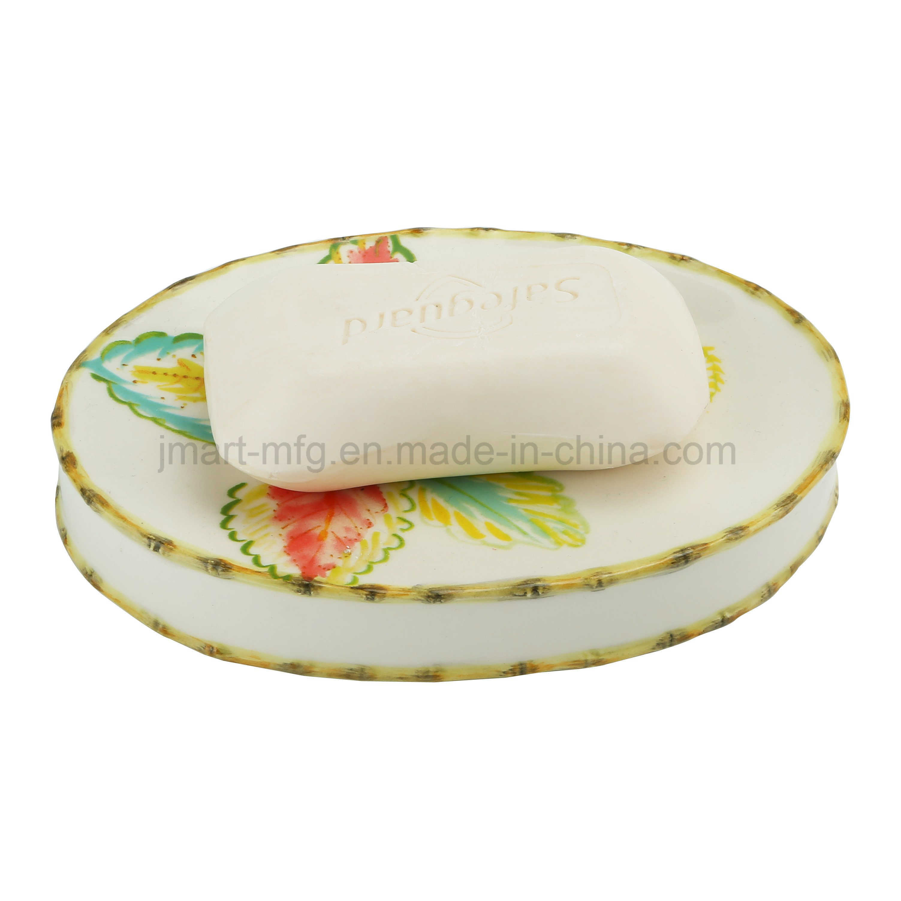 Tropical Palm Decal Ceramic Bath/Bathroom Fittings for Accessories Set pictures & photos