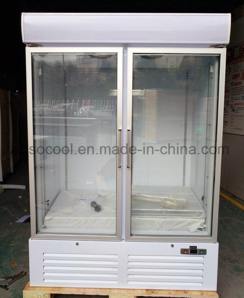 China Supermarket Stand Up Glass Door Freezer With Anti Fog Glass