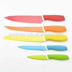 [Hot Item] 5 PCS Colorful Fancy Product Non-Stick Coating Stainless Steel  Kitchen Knife Set