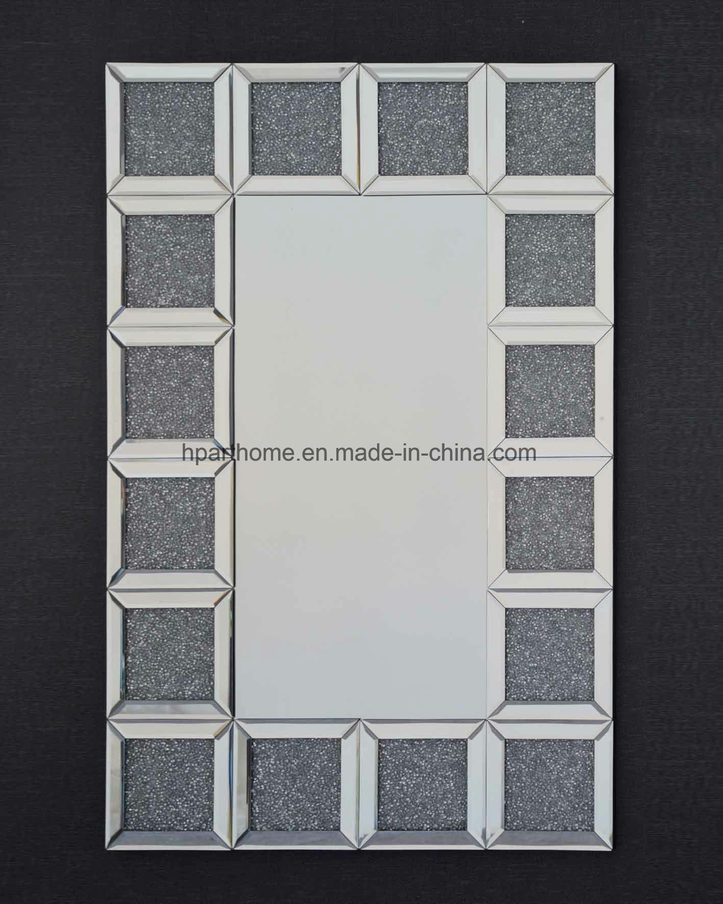 China Hot Silver Crushed Diamond Crystal Wall Mirrors Mirror