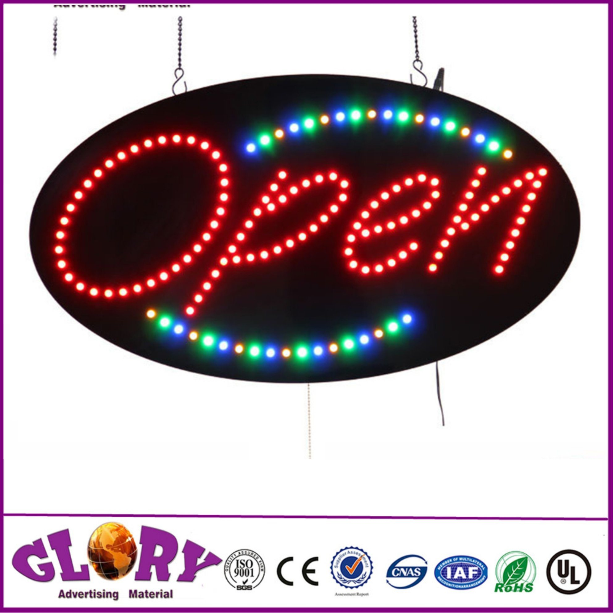 [Hot Item] High Brightness Open Sign with Animation LED Light Oval Open Sign