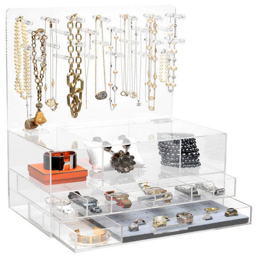 China Modern Stylish Clear Acrylic Jewelry Organizer With Makeup Drawer China Acrylic Jewelry Rack And Acrylic Jewelry Storage Box Price