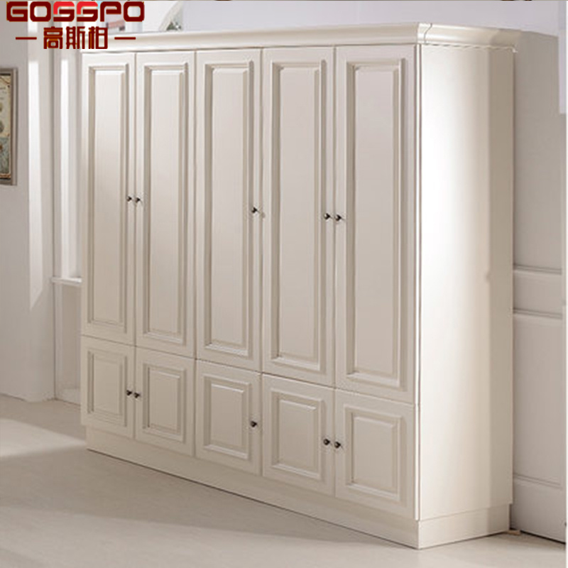 [Hot Item] White Painting Bedroom Closet Wood Wardrobe Cabinets (GSP17-001)