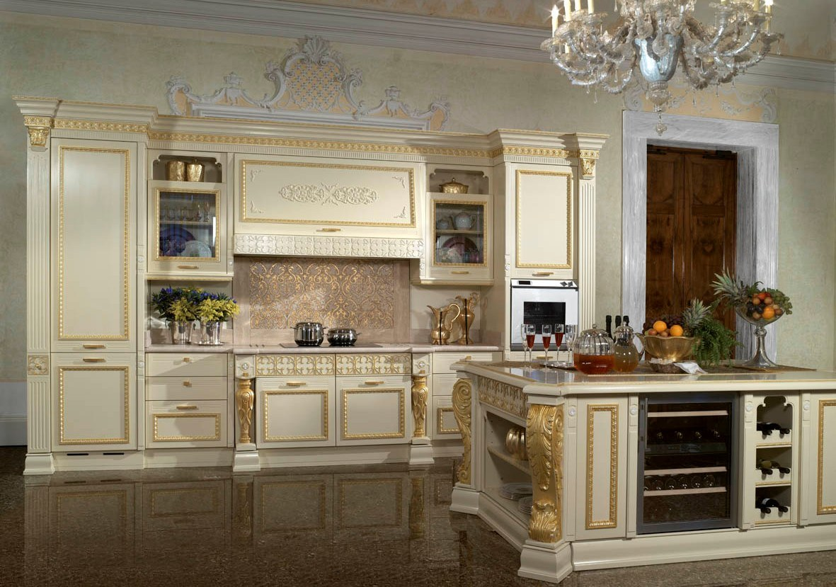 China Luxury Solid Wood French Kitchen Cabinet Designs For