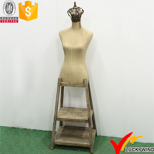 Vintage Woman Boutique Decorative Mannequins with Wood Stand