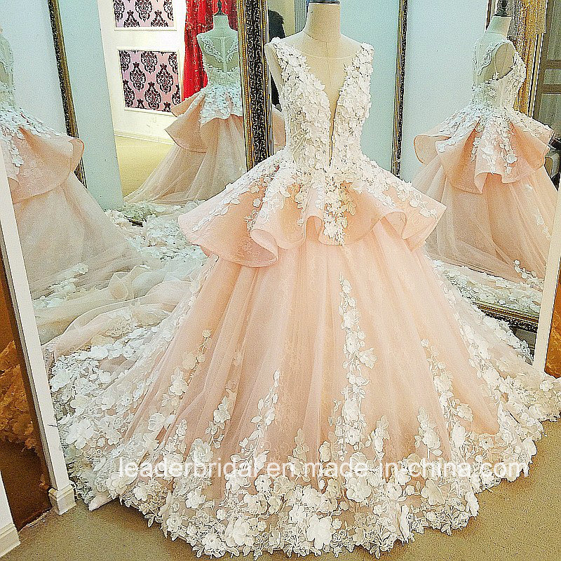 China Arabic Flowers Bridal Ball Gowns Pink Lace Wedding Dress Lb20187