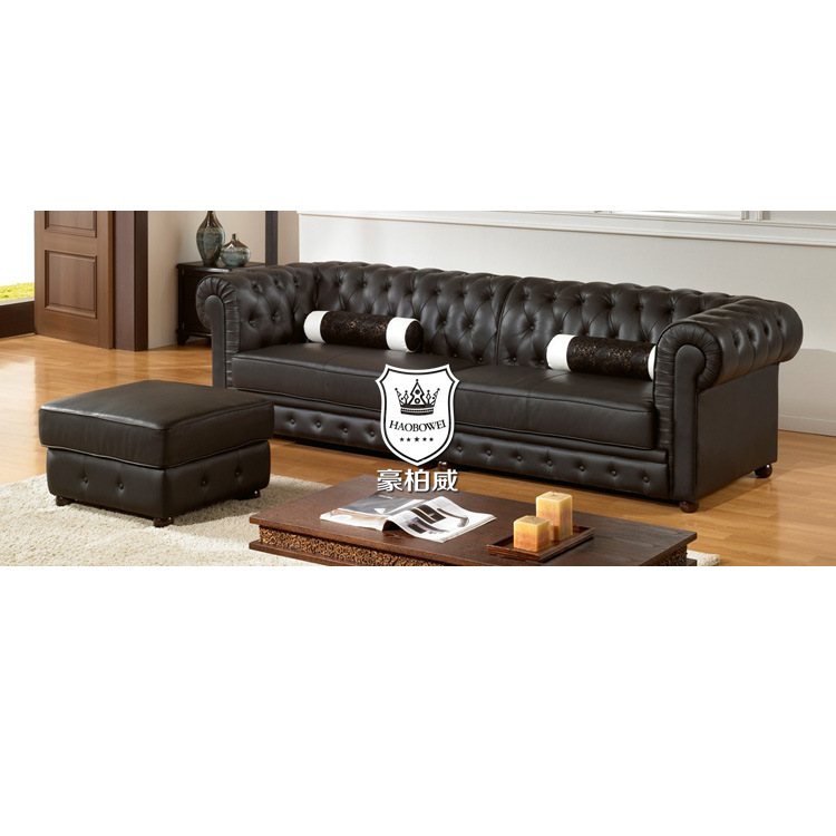 [Hot Item] Classic Chesterfield Leather Sofa by Caw Leather with Ottoman