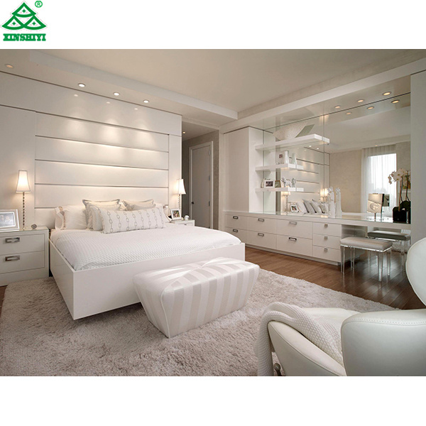 [Hot Item] Modern Bedroom White Plywood Bed Designs Hotel Bedroom Furniture  Bedroom Set