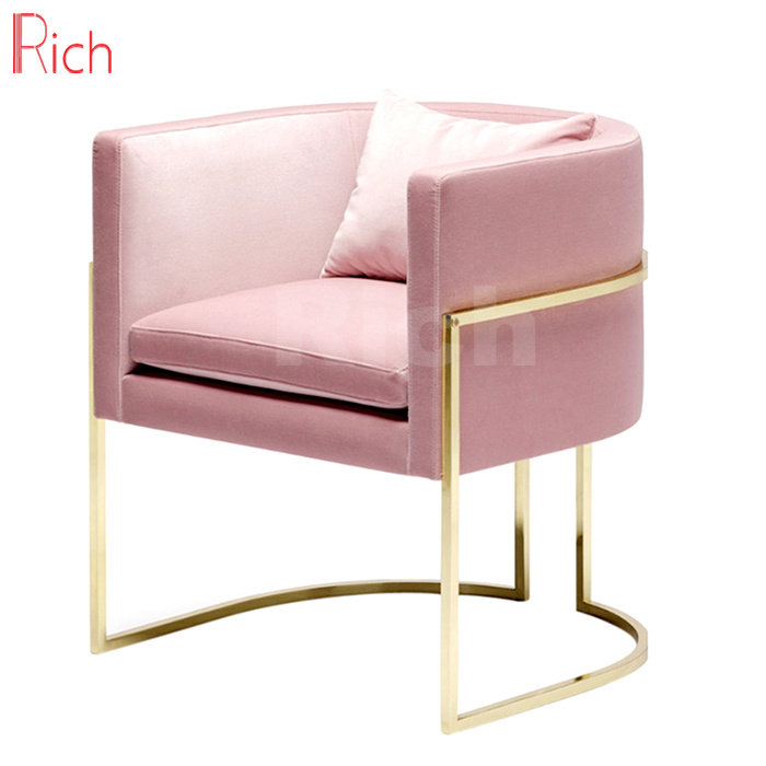 Magnificent Hot Item Pink Velvet Single Sofa Golden Metal Frame Accent Chair For Home Andrewgaddart Wooden Chair Designs For Living Room Andrewgaddartcom