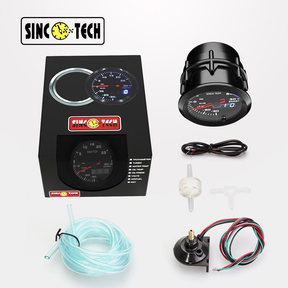 """2/"""" 52mm 7 Colors LED Car Turbo Boost Gauge PSI Meter Analog//Digital Dual Display"""