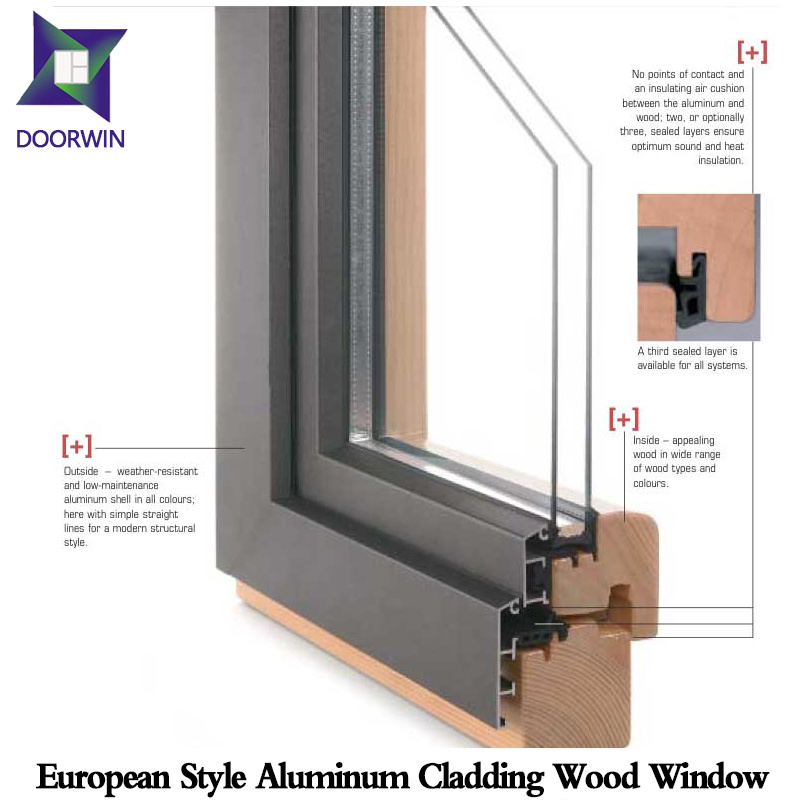 Durable Open Casement Window with Long Lifespan, Solid Oak/Teak Wood Aluminum Casement Window for Villa pictures & photos