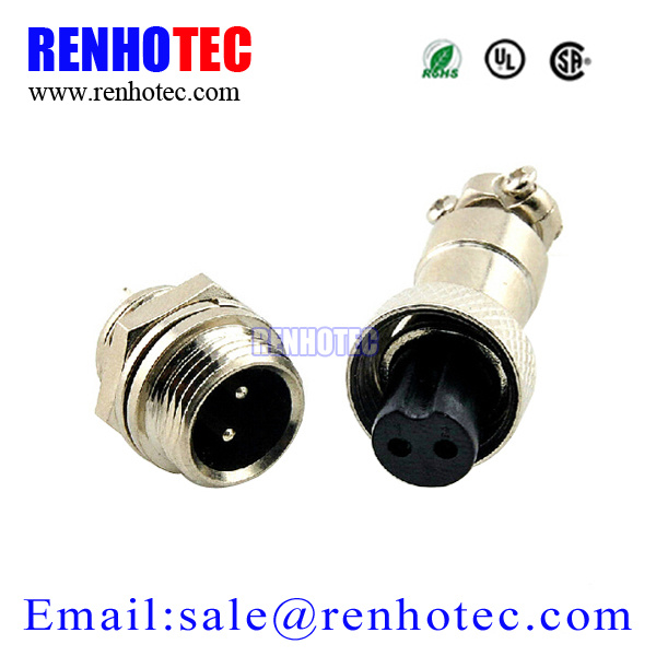 M12 2 Pin Gx12 Connector Circular Aviation Electrical Connector