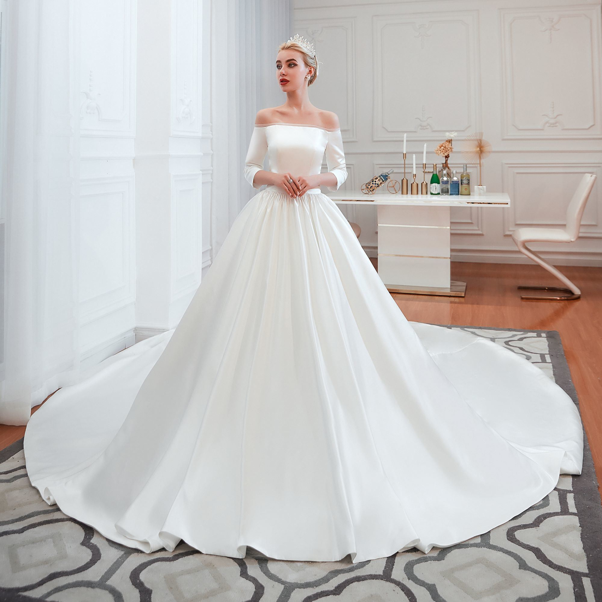 [hot item] elegant sexy stain off the shoulder cathedral train wedding  dress a-line