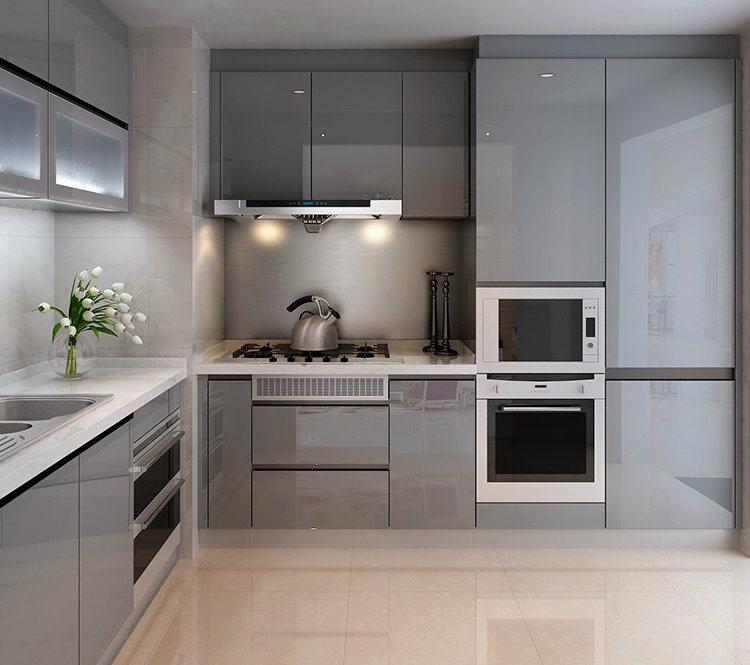 China Popular High Gloss Matt Grey Lacquer Kitchen Cabinet ...