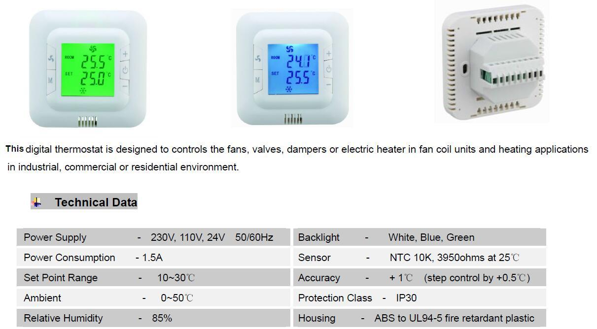 Digital Non Programmable Fcu Room Cooling Heating Temperature Controller Thermostat (HTW-31-F12) pictures & photos