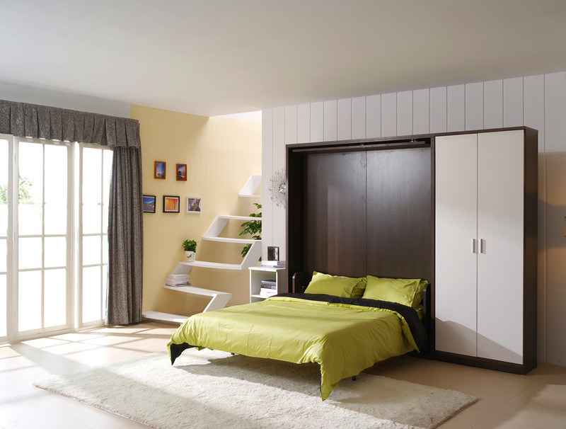 Revolving Modern Double Space Saving Wall Bed With Cabinet