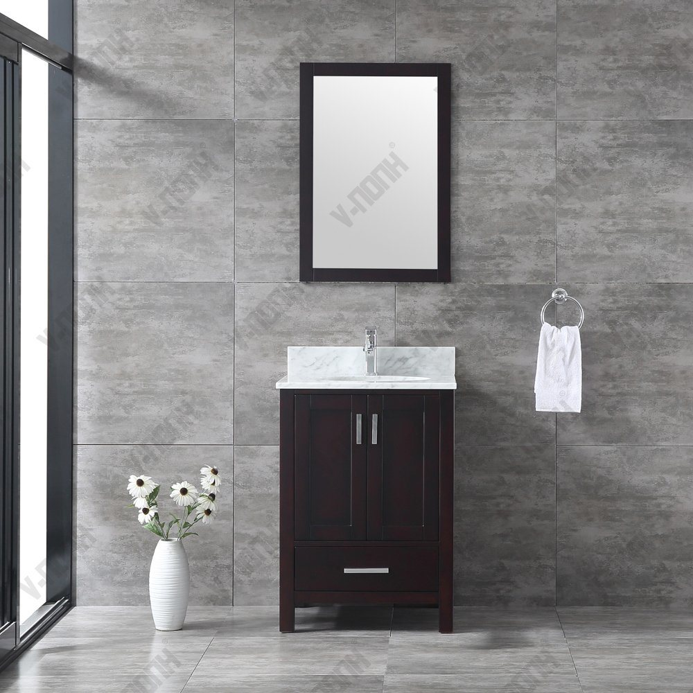 China Cherry Finish Cheap Modern Solid Wood Small Bathroom Vanities And Sinks China Toilet Furniture Cabinet Marble Bathroom Vanity