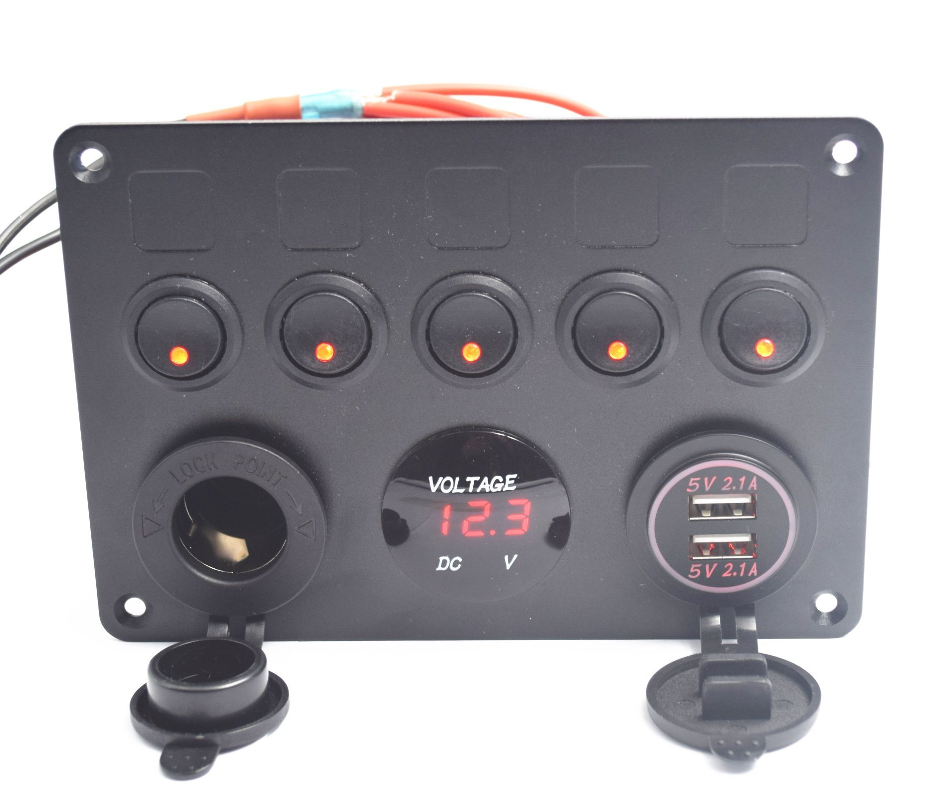 Car Boat Marine On-Off Rocker Switch Panel 12V Dual USB Charger+Voltmeter Gauge