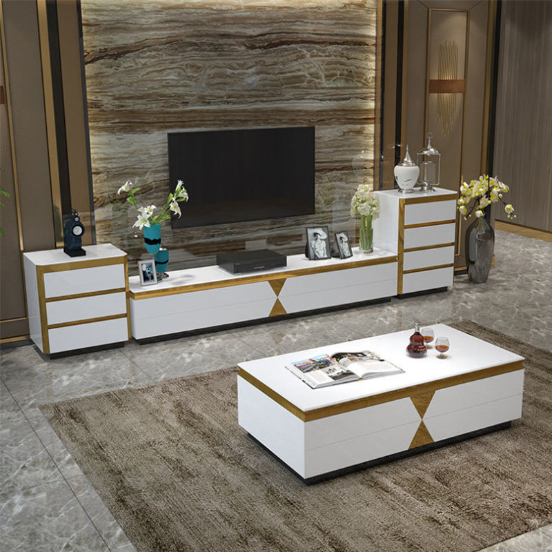 [Hot Item] White Color Light Luxury Modern Coffee Table Living Room  Furniture (08#)